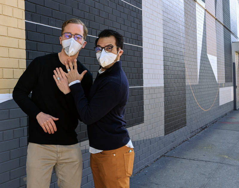 Sean O'Connor and Kaleb Leija wore masks for engagement photos during coronavirus outbreak. (Photo: Laura Corinn)