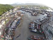 <p>Fishing boats are anchored at a bay as Typhoon Nepartak approaches, in Cangnan, Wenzhou, Zhejiang province, China, July 7, 2016. (REUTERS/Stringer) </p>