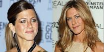 <p>Jennifer was almost fully brunette (her natural color) by the end of her marriage to Brad Pitt. After she filed for divorce, she debuted a golden honey blonde—and it's worth noting, she hasn't deviated since. </p>