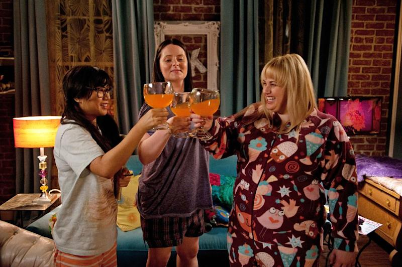 "This TV publicity image released by ABC shows, from left, Liza Lapira, Lauren Ash and Rebel Wilson in a scene from the new series ""Super Fun Night,"" premiering as part of the ABC fall line-up. (AP Photo/ABC, Colleen Hayes)"