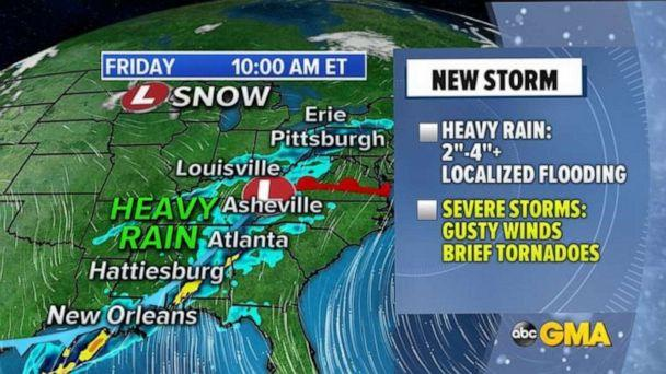 PHOTO: Tracking the storm through Friday morning weather map. ( ABC News)