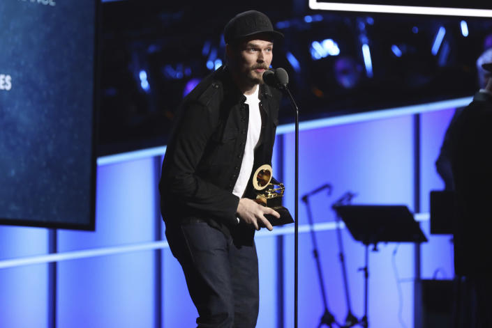 """FILE - In this Sunday, Jan. 28, 2018, file photo, Steve Johnson of Alabama Shakes accepts the best American roots performance for """"Killer Diller Blues"""" at the 60th annual Grammy Awards at Madison Square Garden in New York. Johnson, the drummer for Grammy Award-winning rock band Alabama Shakes is in custody on child abuse charges. Johnson, 35, was arrested Wednesday, March 24, 2021, after being indicted on charges of willful torture, willful abuse and cruelly beating or otherwise willfully maltreating a child under the age of 18, news outlets reported. (Photo by Matt Sayles/Invision/AP, File)"""