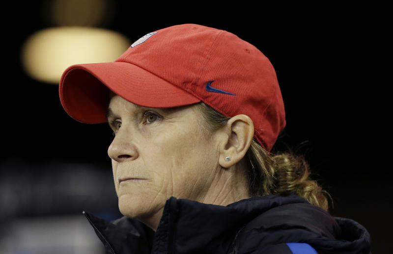 FILE - This Nov. 12, 2017 file photo shows United States head coach Jill Ellis before an international friendly women's soccer match against Canada in San Jose, Calif. A person with knowledge of the situation says Ellis is stepping down after leading the team to back-to-back Women's World Cup titles. The person spoke on the condition of anonymity Tuesday, July 30, 2019 because the resignation has not been officially announced. (AP Photo/Eric Risberg, file)