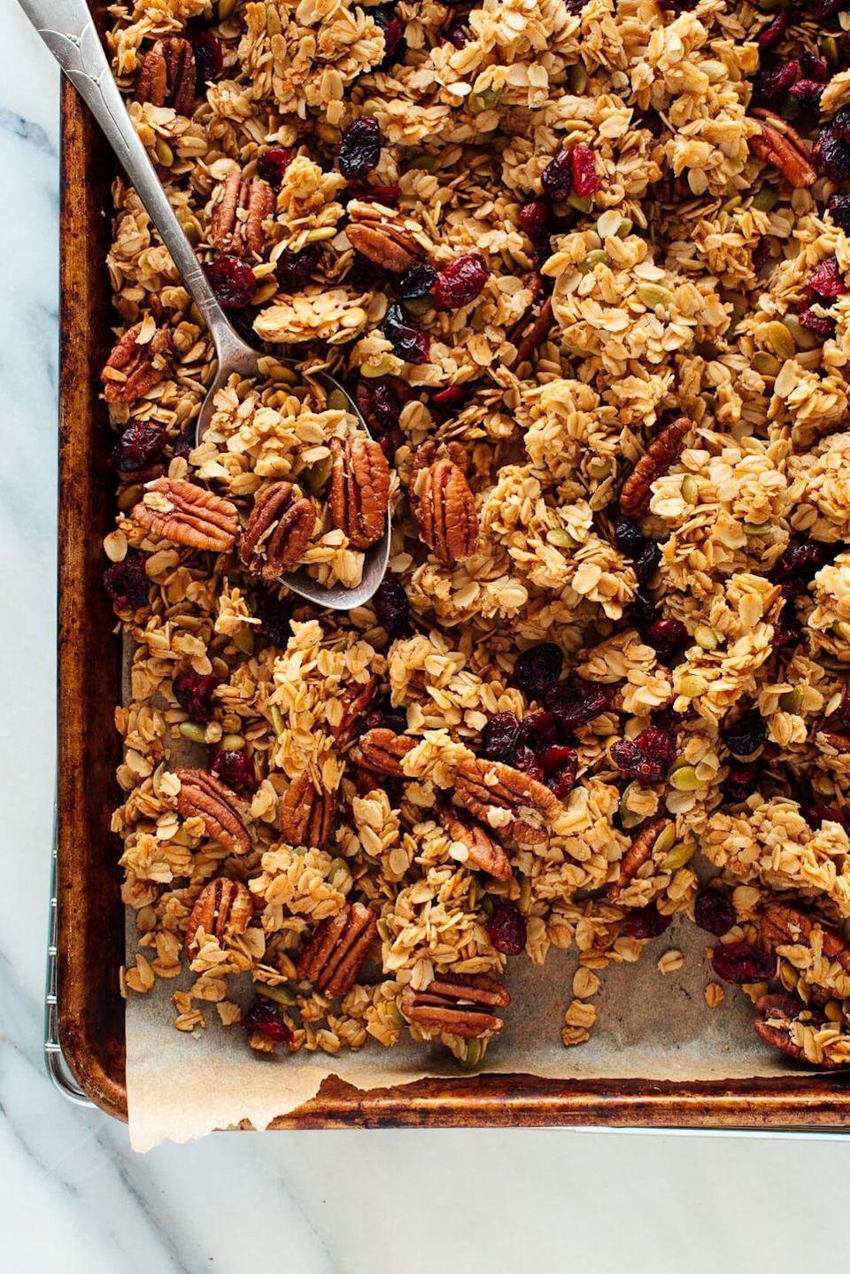 """<p>Make the most of your pantry items with this homemade granola. You can use whatever nuts, seeds, or dried fruits you have on hand—it's easy to customize! Serve it up with Greek yogurt and fresh fruit.</p><p><strong>Get the recipe at <a href=""""https://cookieandkate.com/healthy-granola-recipe/"""" rel=""""nofollow noopener"""" target=""""_blank"""" data-ylk=""""slk:Cookie + Kate"""" class=""""link rapid-noclick-resp"""">Cookie + Kate</a>.</strong></p><p><strong><a class=""""link rapid-noclick-resp"""" href=""""https://go.redirectingat.com?id=74968X1596630&url=https%3A%2F%2Fwww.walmart.com%2Fsearch%2F%3Fquery%3Dpioneer%2Bwoman%2Bkitchen%2Btools&sref=https%3A%2F%2Fwww.thepioneerwoman.com%2Ffood-cooking%2Fmeals-menus%2Fg34922086%2Fhealthy-breakfast-ideas%2F"""" rel=""""nofollow noopener"""" target=""""_blank"""" data-ylk=""""slk:SHOP KITCHEN TOOLS"""">SHOP KITCHEN TOOLS</a><br></strong></p>"""
