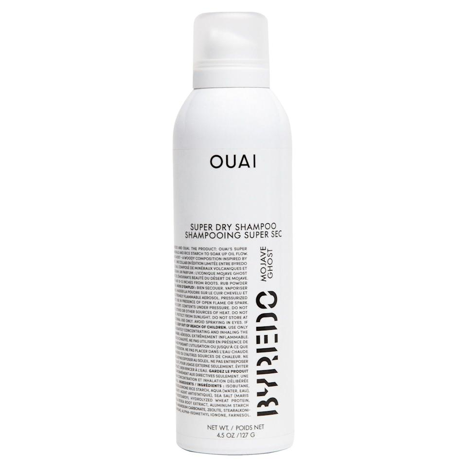 """<h3>Ouai x Byredo Super Dry Shampoo Mojave Ghost </h3> <br>""""I've got a serious soft spot for fragrance and have racked up a curated collection of glass bottles that I keep on rotation (yes, even in quarantine). Naturally, my heart did a backflip when I heard of Ouai's new collab with one of the coolest scent-makers in the industry: Byredo. In addition to stretching the time between my wash days, the Mojave Ghost scent acts as the fanciest hair perfume in existence."""" — Hoshikawa<br><br><strong>Ouai</strong> OUAI x BYREDO Super Dry Shampoo Mojave Ghost, $, available at <a href=""""https://go.skimresources.com/?id=30283X879131&url=https%3A%2F%2Ffave.co%2F39Sq2yS"""" rel=""""nofollow noopener"""" target=""""_blank"""" data-ylk=""""slk:Sephora"""" class=""""link rapid-noclick-resp"""">Sephora</a><br>"""