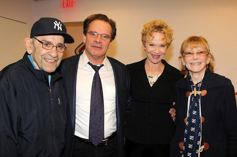 CORRECTS DATE TO THURSDAY MARCH 6, 2014 In this 2013 photo released by Polk PR, baseball legend Yogi Berra, left, actor Peter Scolari, center left, Scolari's wife, actress Tracy Shayne and Carmen Berra pose for a photo at the Yogi Berra Museum & Learning Center at Montclair State University in Montclair, N.J. NJ.com reported that Carmen Berra died from complications from a stroke on Thursday, March 6, 2014 in New Jersey. She was 85. (AP Photo/Polk PR, Bruce Glikas, File)