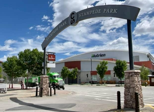 Stampede Park near downtown Calgary on June 25. Nutrien is one of the Champion level sponsors for the Calgary Stampede.  (Bryan Labby/CBC - image credit)