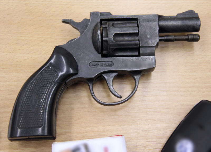 This undated handout picture showing a revolver was provided to the media by Czech Police in Ostrava, Saturday, Aug. 18, 2012. The police announced they caught a man from Ostrava, a supporter of Norwegian killer Anders Breivik, who gathered weapons and explosives probably with the aim to use them. Also a remote blast controller was found. The investigation has shown that the man probably planned an extensive bomb explosion. He probably wanted to pass himself off as a policeman, since he had acquired parts of police uniforms. He was convicted on explosives charges once in the past, the police said. The 29-year-old man has been accused of endangering the public and of illegal arms possession. (AP Photo/CTK, Czech Police) SLOVAKIA OUT