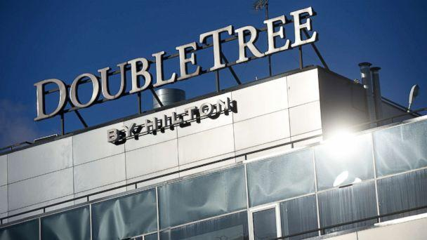 PHOTO: A DoubleTree by Hilton sign is pictured in this undated photo. (Pavel Lisitsyn/Sputnik via AP)