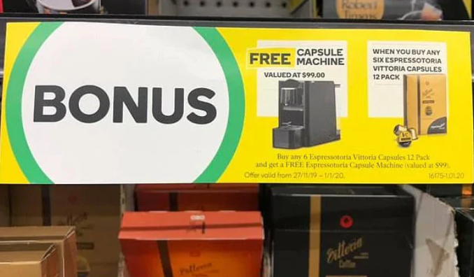 Woolworths free coffee machine deal