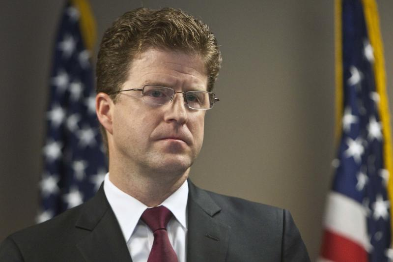 U.S. Attorney for Utah David Barlow speaks during a press conference, Friday March 9, 2012 in Salt Lake City. The operator of a Utah coal mine where a 2007 collapse led to the deaths of nine people agreed on Friday to plead guilty to two misdemeanor criminal charges and pay a $500,000 fine. (AP Photo/The Salt Lake Tribune, Chris Detrick) DESERET NEWS OUT; LOCAL TV OUT; MAGS OUT
