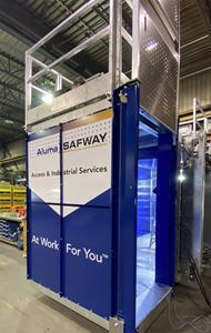 The elevator, which will be installed on the Canada bridge site in Windsor, Ontario, in the AlumaSafway fabrication facility.