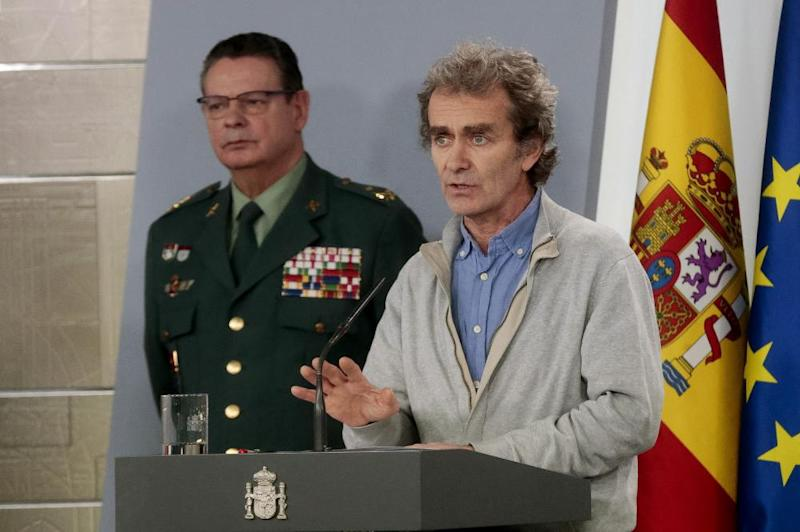 Head of the Center for Coordination of Health Alerts and Emergencies (CCAES) Fernando Simon holding a press conference at the Moncloa Palace in Madrid, Spain, 18 March.