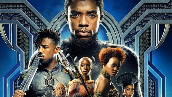 Black Panter movie poster with numerous cast members.