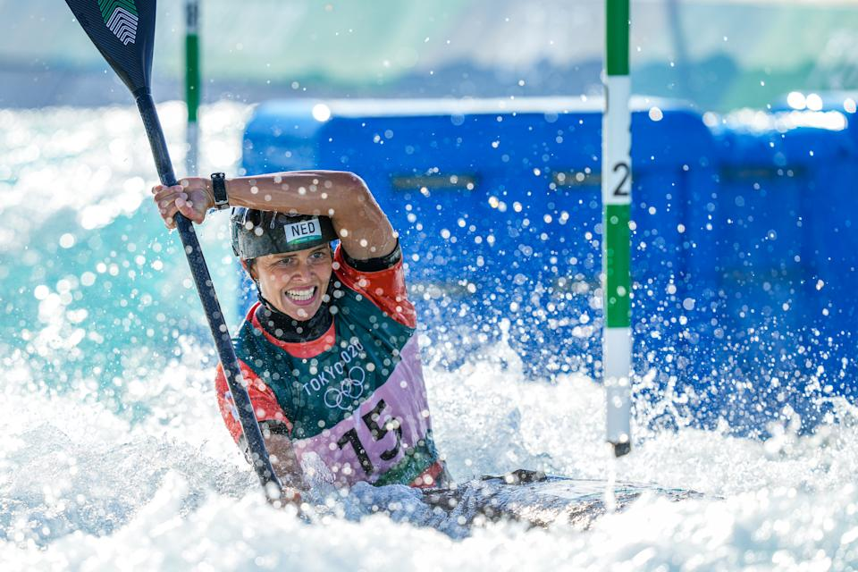 <p>TOKYO, JAPAN - JULY 27: Martina Wegman of Team Netherlands competes on Women's Kayak Semi-final during the Tokyo 2020 Olympic Games at the Kasai Canoe Slalom Centre on July 27, 2021 in Tokyo, Japan (Photo by Ronald Hoogendoorn/BSR Agency/Getty Images)</p>