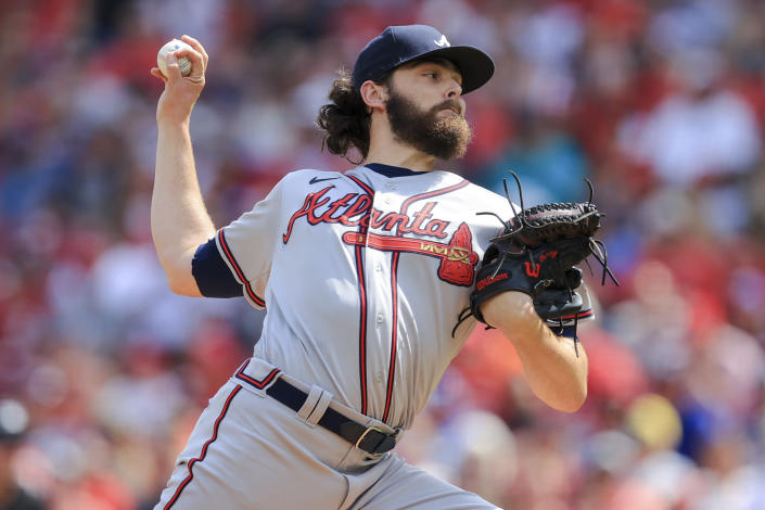 Atlanta Braves' Ian Anderson throws during the first inning of a baseball game against the Cincinnati Reds in Cincinnati, Saturday, June 26, 2021. (AP Photo/Aaron Doster)
