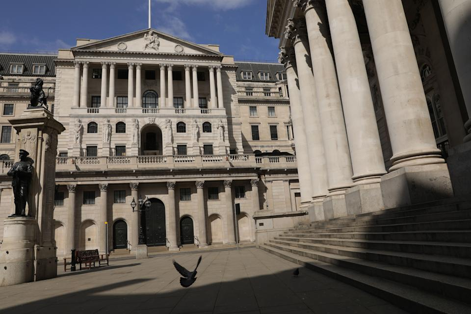 LONDON, April 13, 2020. Photo taken on April 13, 2020 shows a general view of the Bank of England in London, Britain. Britain's gross domestic product ,GDP, could fall by 25 to 30 percent in the second quarter amid the COVID-19 pandemic, British Chancellor of the Exchequer Rishi Sunak said during the weekend, according to local media reports. (Photo by Tim Ireland/Xinhua via Getty) (Xinhua/ via Getty Images)