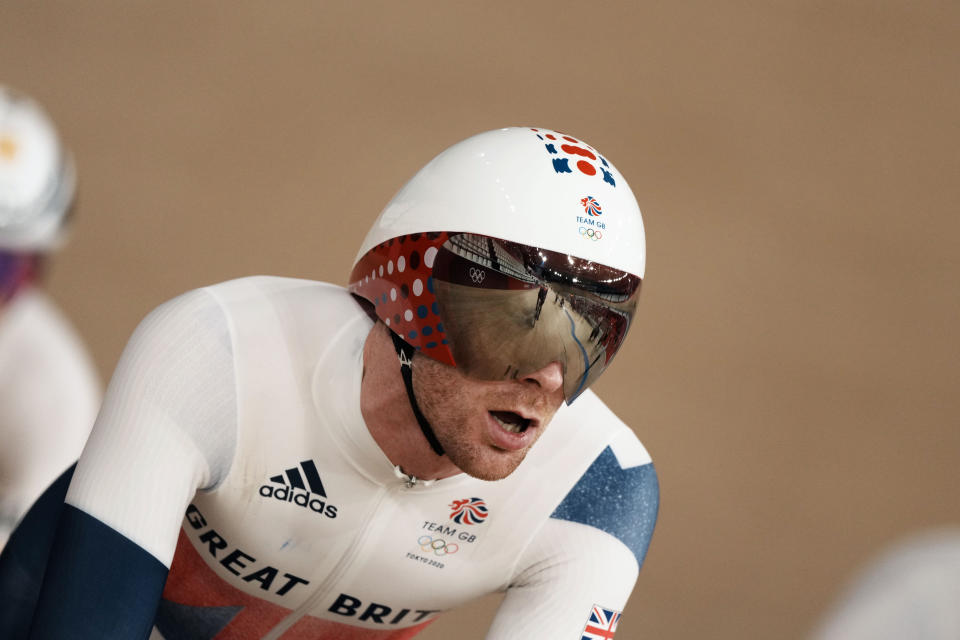Britain's Ed Clancy rounds the track during a training session inside the Izu velodrome at the 2020 Summer Olympics, Saturday, July 31, 2021, in Izu, Japan. (AP Photo/Thibault Camus)