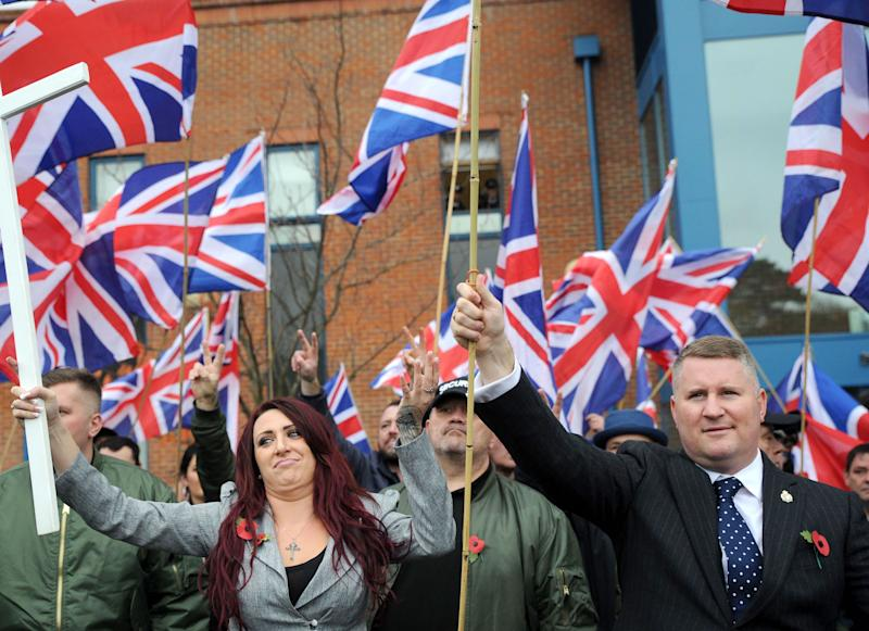 Britain First's Jayda Fransen and Paul Golding