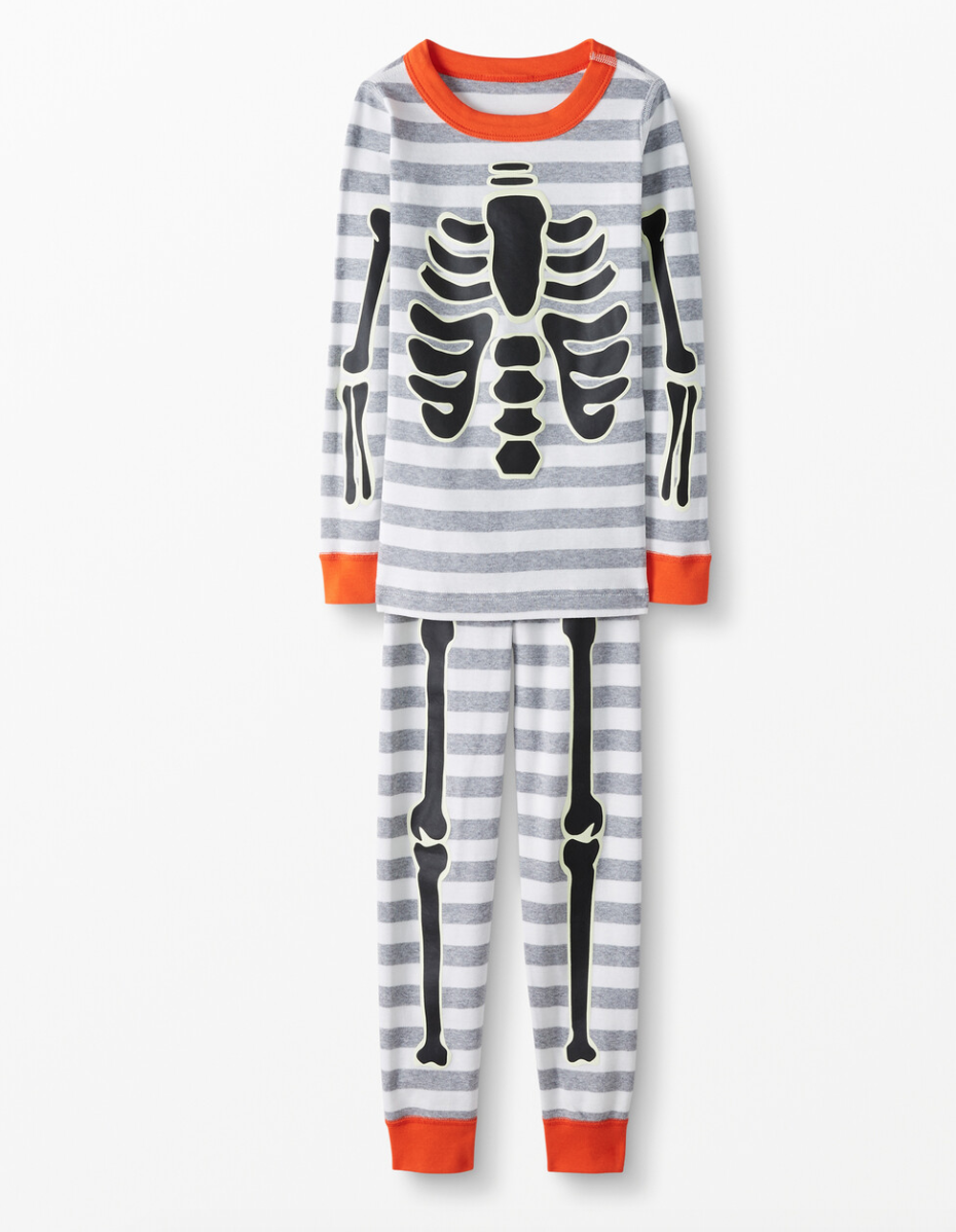 Skeleton Long John Pajamas In Organic Cotton. Image via Hanna Andersson.