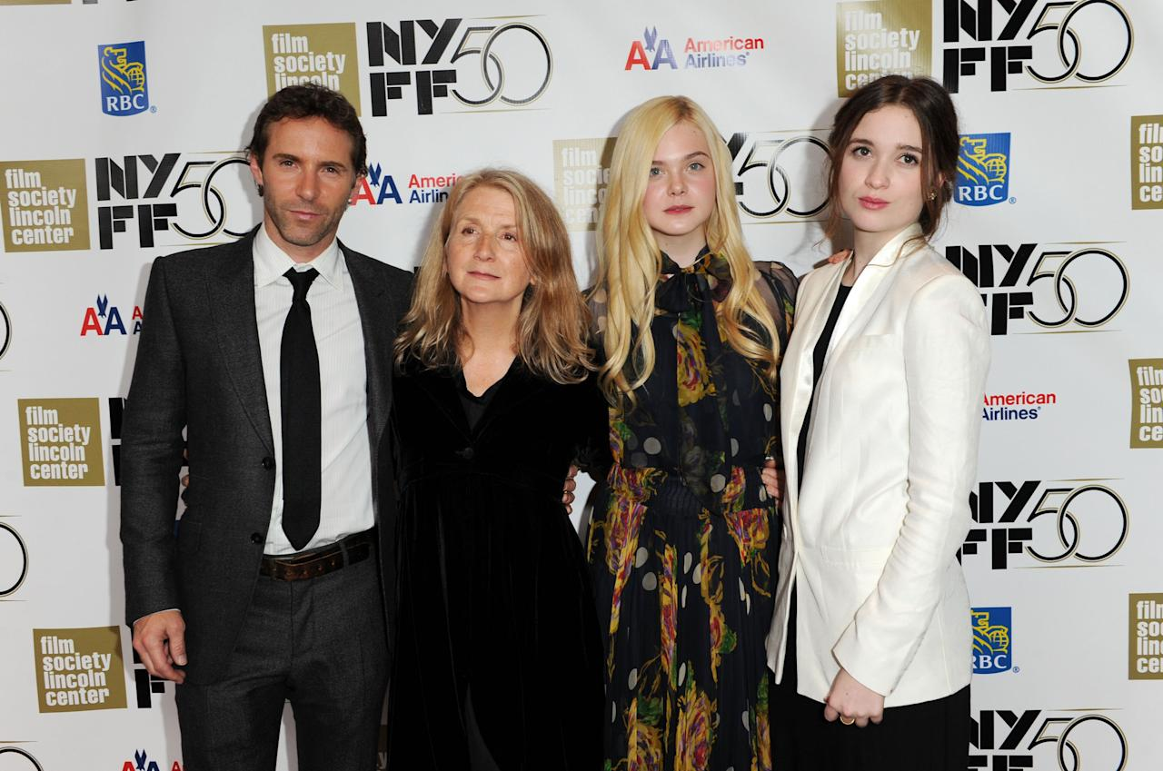 """NEW YORK, NY - OCTOBER 08:  Alessandro Novola, Sally Potter, Elle Fanning and Alice Anglert attend the """"Ginger And Rosa"""" premiere during the 50th New York Film Festival at Alice Tully Hall at Lincoln Center on October 8, 2012 in New York City.  (Photo by Craig Barritt/Getty Images)"""