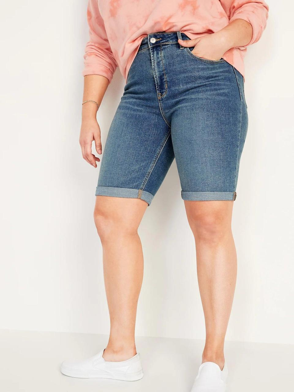<p>When you want shorts that are both long<em> and</em> high-waisted, opt for a pair of <span>Old Navy High-Waisted Cuffed Bermuda Jean Shorts</span> ($28, originally $35) this season.</p>
