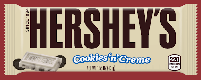 <p><strong>Hershey's Cookies 'n' Creme</strong></p><p>The fan-favorite combines two incredible flavors into one cookie bar. White chocolate surrounding tiny cookie bits is a combination even the healthiest eaters can't resist. </p>