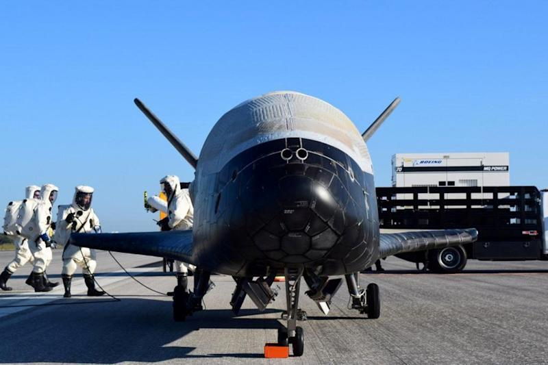 The U.S. Airforce's X-37B Orbital Test Vehicle mission 4 after landing at NASA's Kennedy Space Center Shuttle Landing Facility in Cape Canaveral, Florida, U.S., May 7, 2017. U.S. Air Force/Handout via REUTERS ATTENTION EDITORS - THIS IMAGE WAS PROVIDED BY A THIRD PARTY. EDITORIAL USE ONLY. TPX IMAGES OF THE DAY