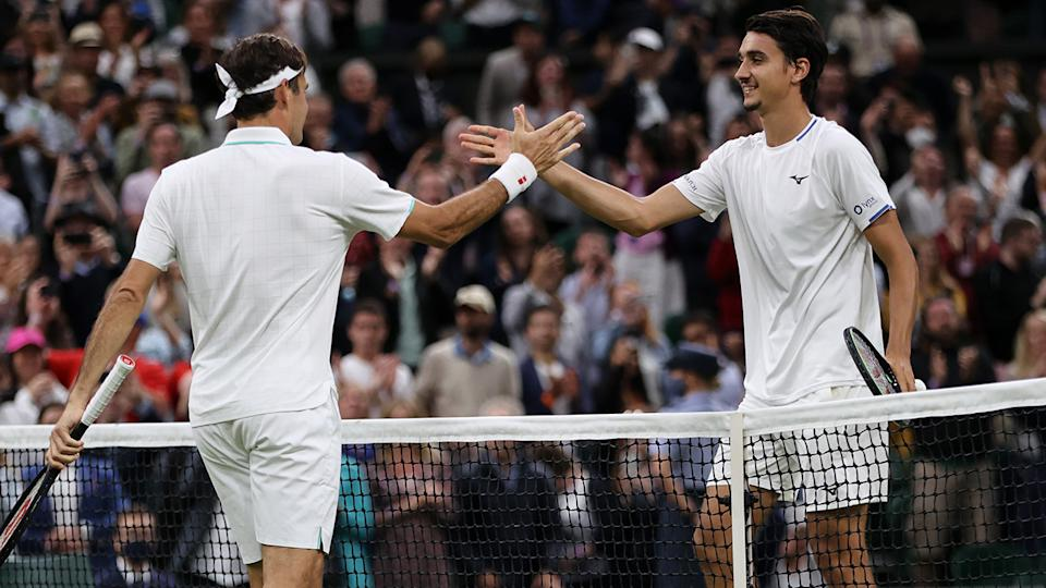 Roger Federer defeated Italy's Lorenzo Sonego in straight sets to win through to his 58th grand slam quarter final. (Photo by Clive Brunskill/Getty Images)
