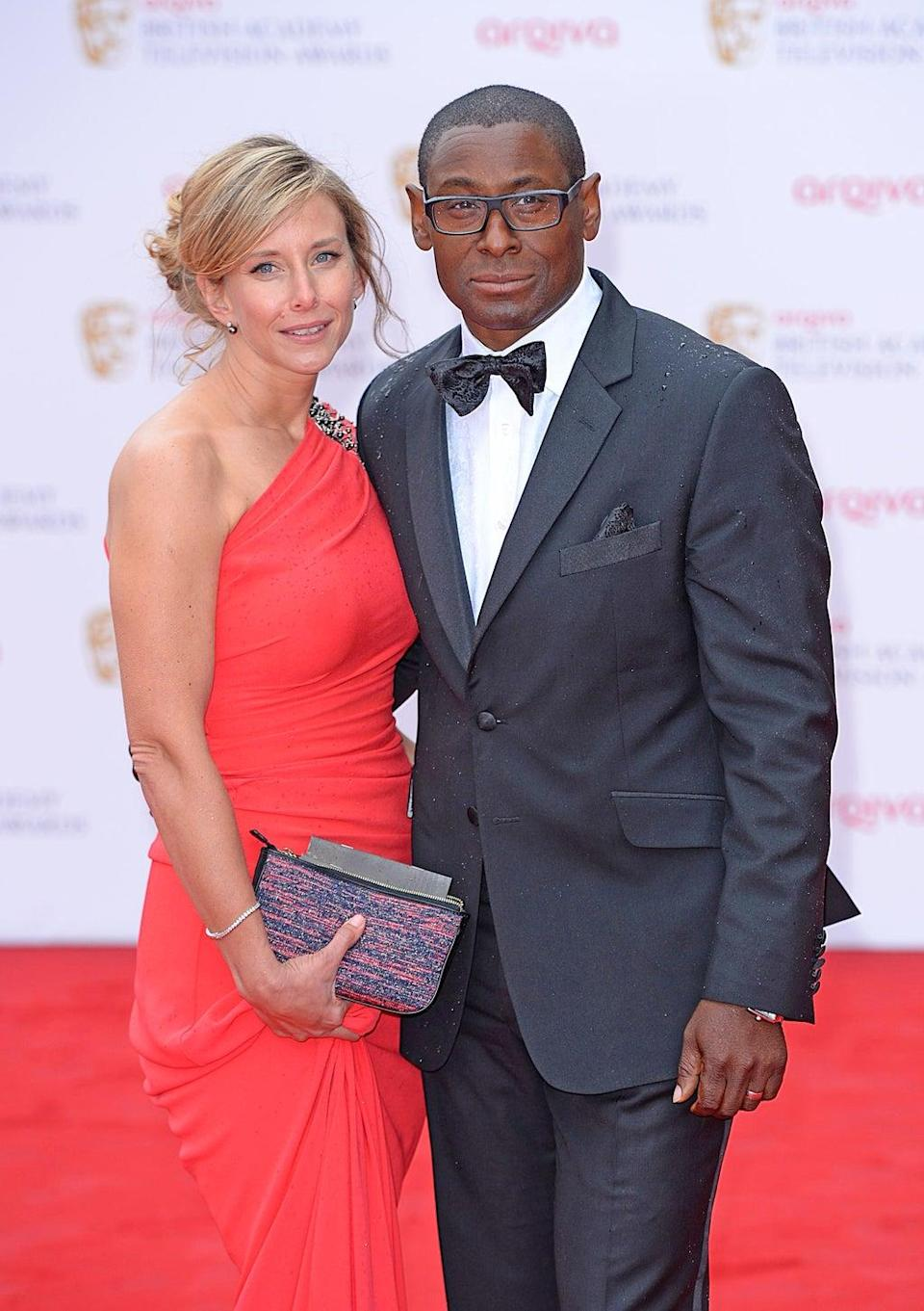 David Harewood and wife Kirsty Hands arriving for the 2013 Arqiva British Academy Television Awards at the Royal Festival Hall, London.