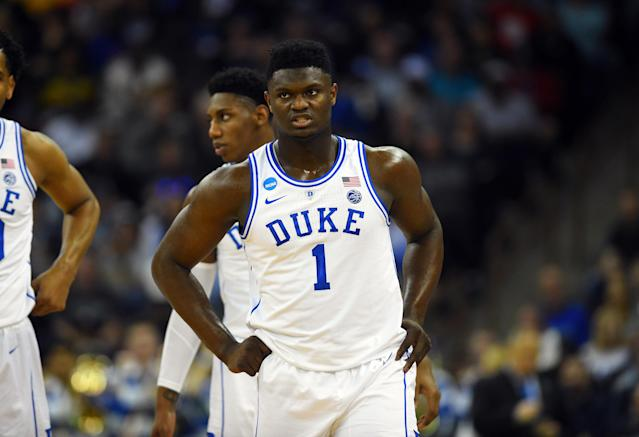 Duke Blue Devils forward Zion Williamson (1) looks on during the first half of an NCAA tournament game. (USAT)