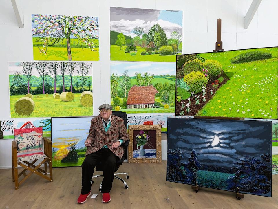 <p>David Hockney  in his Normandy studio earlier this year with his latest iPad landscapes that are going on show at the RA next week </p> (© David Hockney)