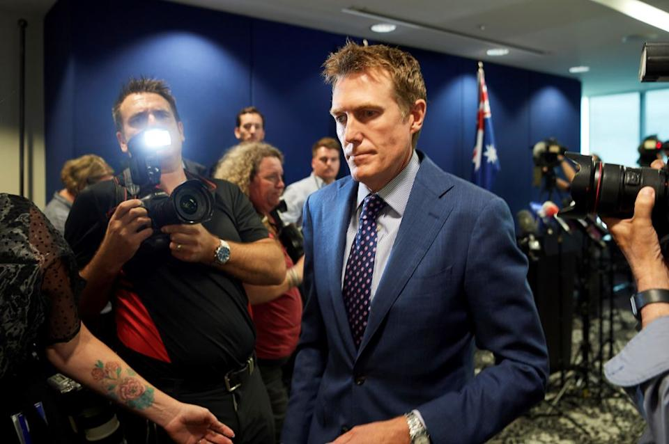 Australia's attorney general Christian Porter leaves a press conference Wednesday where he outed himself as the accused. Source: AAP