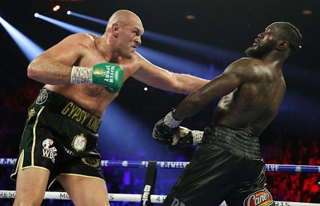 Tyson Fury in action against Deontay Wilder in Las Vegas in February 2020 (AFP Photo/AL BELLO)