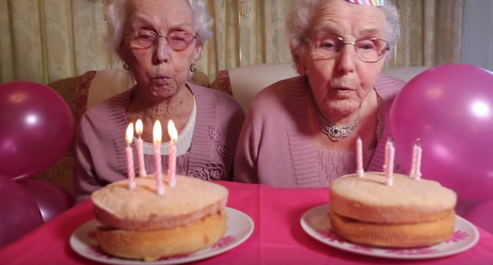 Phyllis Jones and Irene Crump celebrate their 102nd birthday with a photoshoot. (Photo: Caters Clips via YouTube)
