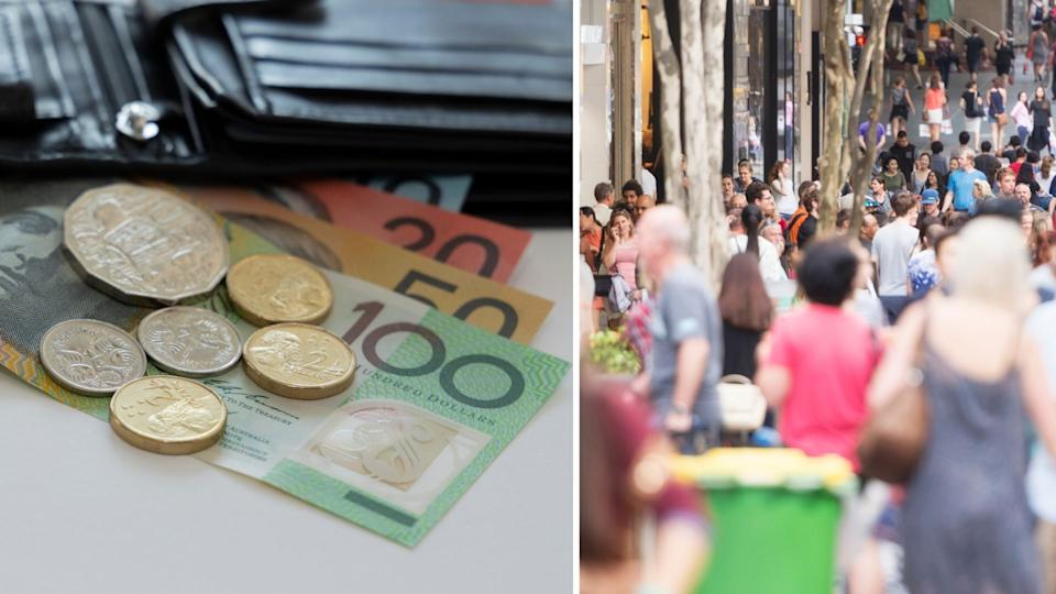 Black leather wallet with Australian money pouring out of it, busy street packed with Australian pedestrians.