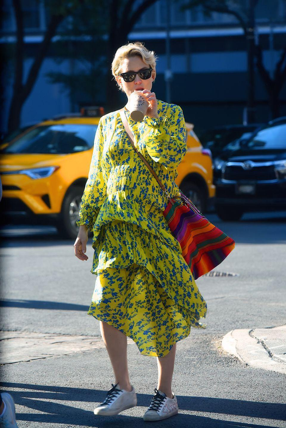 <p>The actress wore Preen whilst out and about in New York.</p>