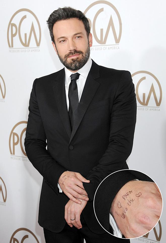 """He showed up at the Producers Guild Awards with messages on his hands (and """"Argo"""" won the top award)."""