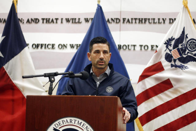 Acting Homeland Security Secretary Chad Wolf speaks in El Paso, Texas, after touring the U.S.-Mexico border on Wednesday. (Photo: Cedar Attanasio/AP)