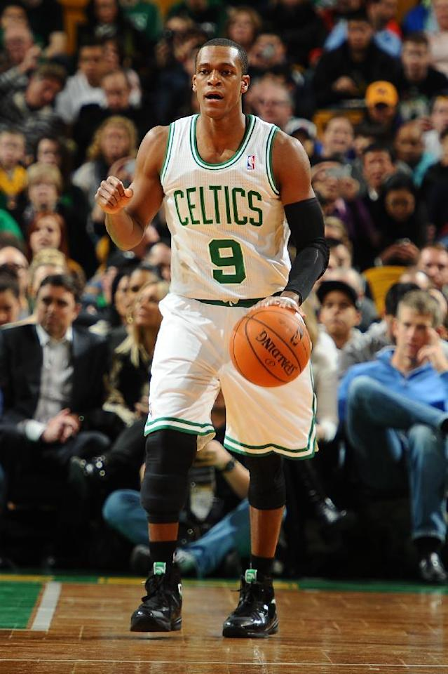 BOSTON, MA - JANUARY 17: Rajon Rondo #9 of the Boston Celtics dribbles the ball against the Los Angeles Lakers on January 17, 2014 at the TD Garden in Boston, Massachusetts. (Photo by Brian Babineau/NBAE via Getty Images)