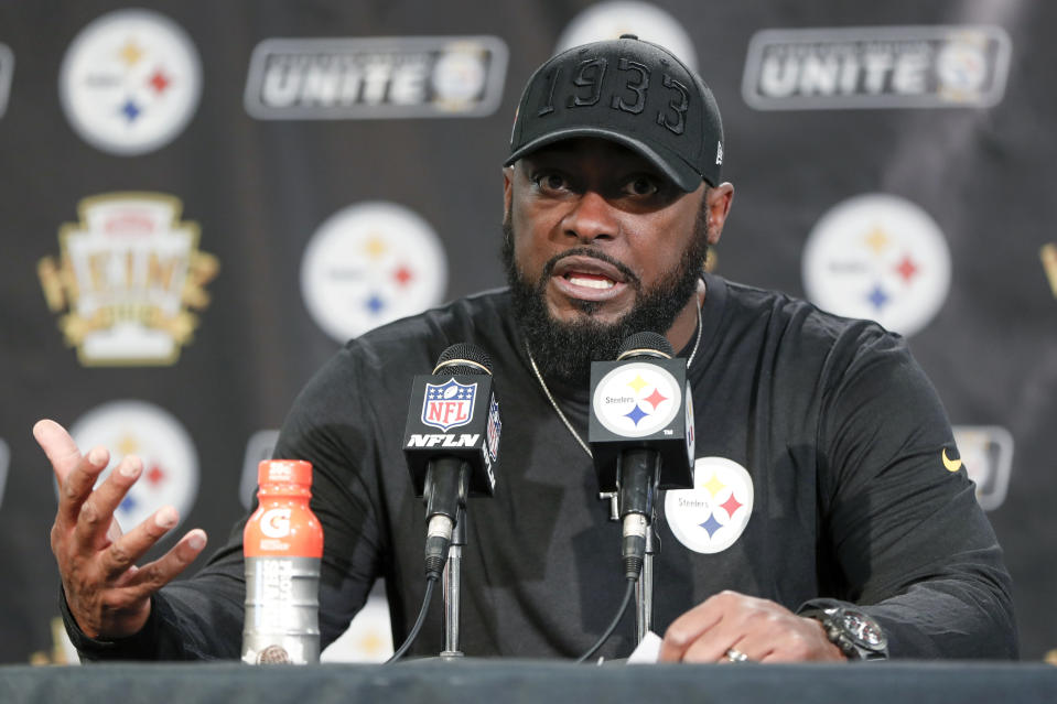 Pittsburgh Steelers coach Mike Tomlin's remarks on the brawl put responsibility directly on the Cleveland Browns. (AP Photo/Keith Srakocic)