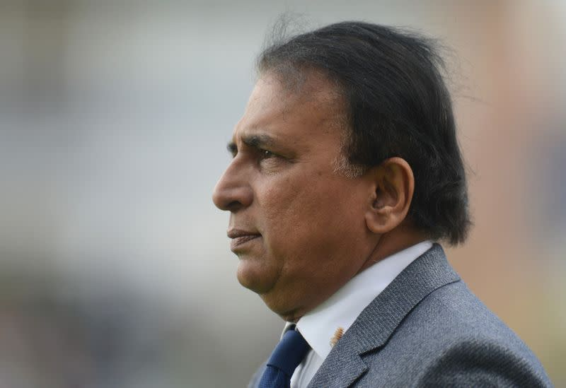 FILE PHOTO: Former cricketer Gavaskar looks on as he performs his television duties during the ICC Champions Trophy group B match between India and Pakistan at Edgbaston cricket ground, Birmingham
