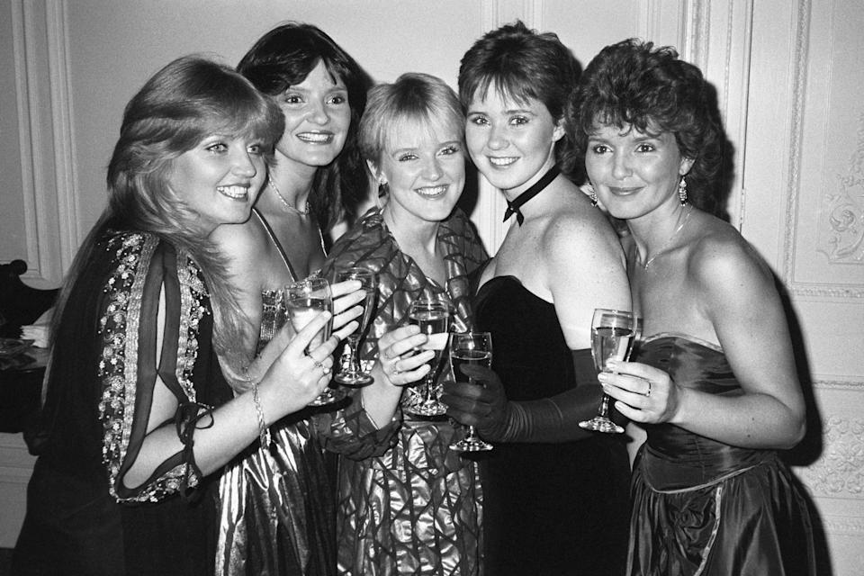 The Nolans, who had their record 'Dressed to Kill' thrown out of the top 100 pop chart. Left to right; Linda Nolan, Anne Nolan, Bernie Nolan, Coleen Nolan, and Maureen Nolan