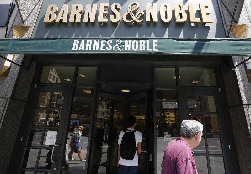 Customers enter a Barnes and Noble store in New York