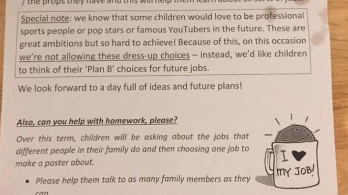 "A school has sparked debate for telling parents not to let children dress as ""professional sports people, pop stars or famous YouTubers"" for 'My World of Work Day.'"