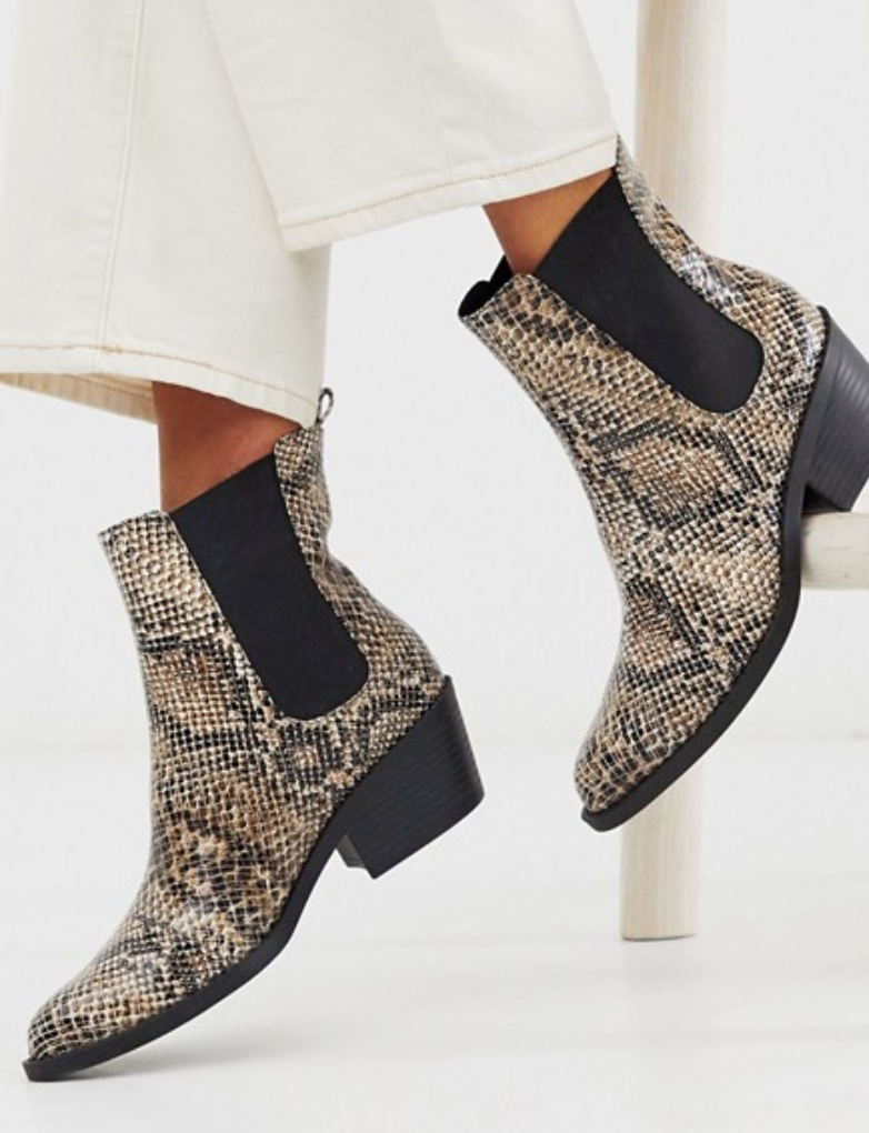 """<br><br><strong>Monki</strong> Faux Leather Heeled Boots, $, available at <a href=""""https://go.skimresources.com/?id=30283X879131&url=https%3A%2F%2Fwww.asos.com%2Fus%2Fmonki%2Fmonki-faux-leather-heeled-boots-with-pointed-toe-in-snake-print%2Fprd%2F13090014"""" rel=""""nofollow noopener"""" target=""""_blank"""" data-ylk=""""slk:ASOS"""" class=""""link rapid-noclick-resp"""">ASOS</a>"""