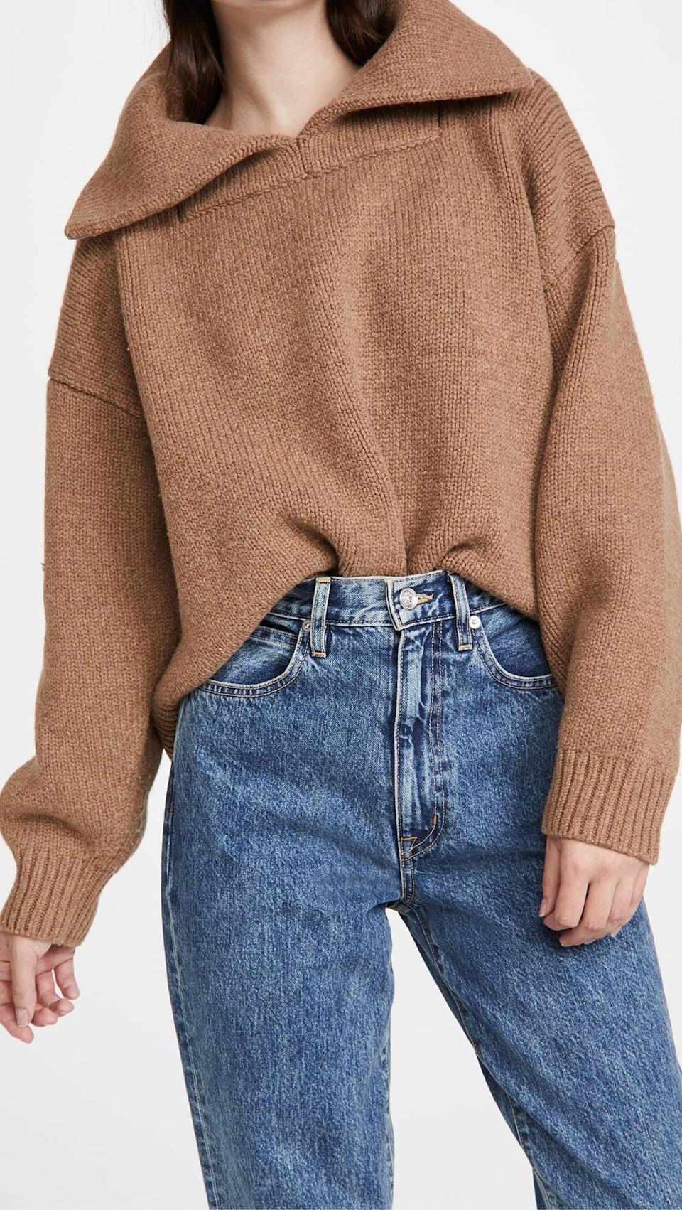 <p>This chunky <span>Alexander Wang Split Collar Drape Back Pullover</span> ($695) is at the top of our wishlist.</p>