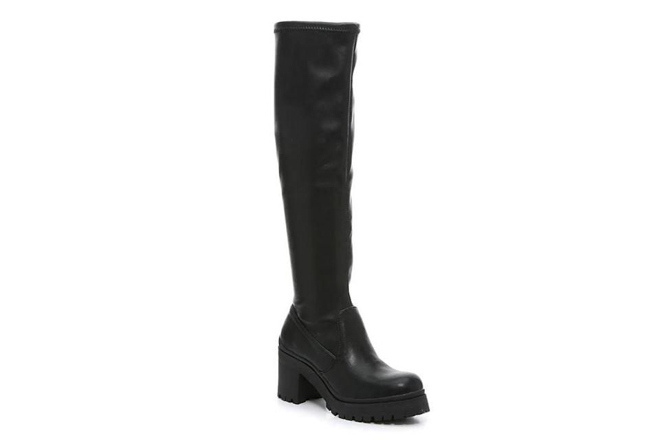 madden girl, coretta boot, black lug sole boots