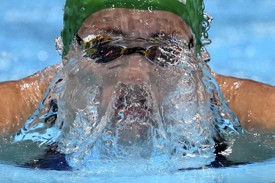 Tatjana Schoenmaker of South Africa swims in a women's 200-meter breaststroke semifinal at the 2020 Summer Olympics, Thursday, July 29, 2021, in Tokyo, Japan. (AP Photo/Matthias Schrader)
