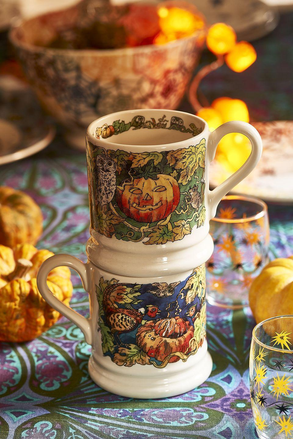 """<p>Dust off your broomstick and snap up one of the new seasonal mugs, perfect for stirring the cauldrons in style.</p><p>'This year, the classic Halloween mug (£19.95) features beautifully pumpkin jack-o-lanterns, autumn foliage and an owl.'</p><p><a class=""""link rapid-noclick-resp"""" href=""""https://go.redirectingat.com?id=127X1599956&url=https%3A%2F%2Fwww.emmabridgewater.co.uk%2Fcollections%2Fhalloween&sref=https%3A%2F%2Fwww.housebeautiful.com%2Fuk%2Flifestyle%2Fshopping%2Fg37527696%2Femma-bridgewater-autumn-range%2F"""" rel=""""nofollow noopener"""" target=""""_blank"""" data-ylk=""""slk:SHOP THE RANGE"""">SHOP THE RANGE</a></p>"""